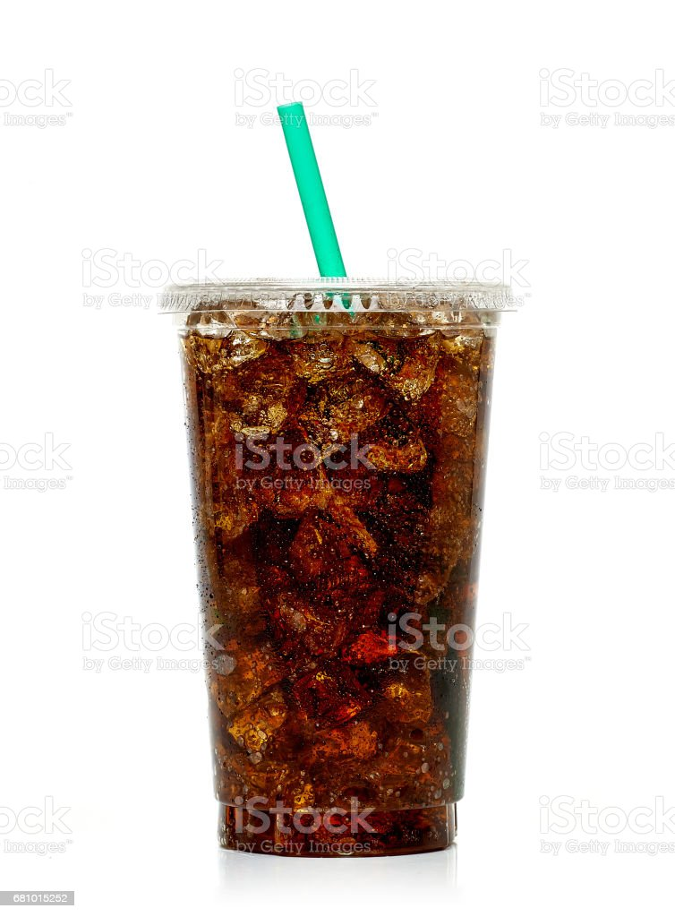 Cola with ice and straw in takeaway cup stock photo
