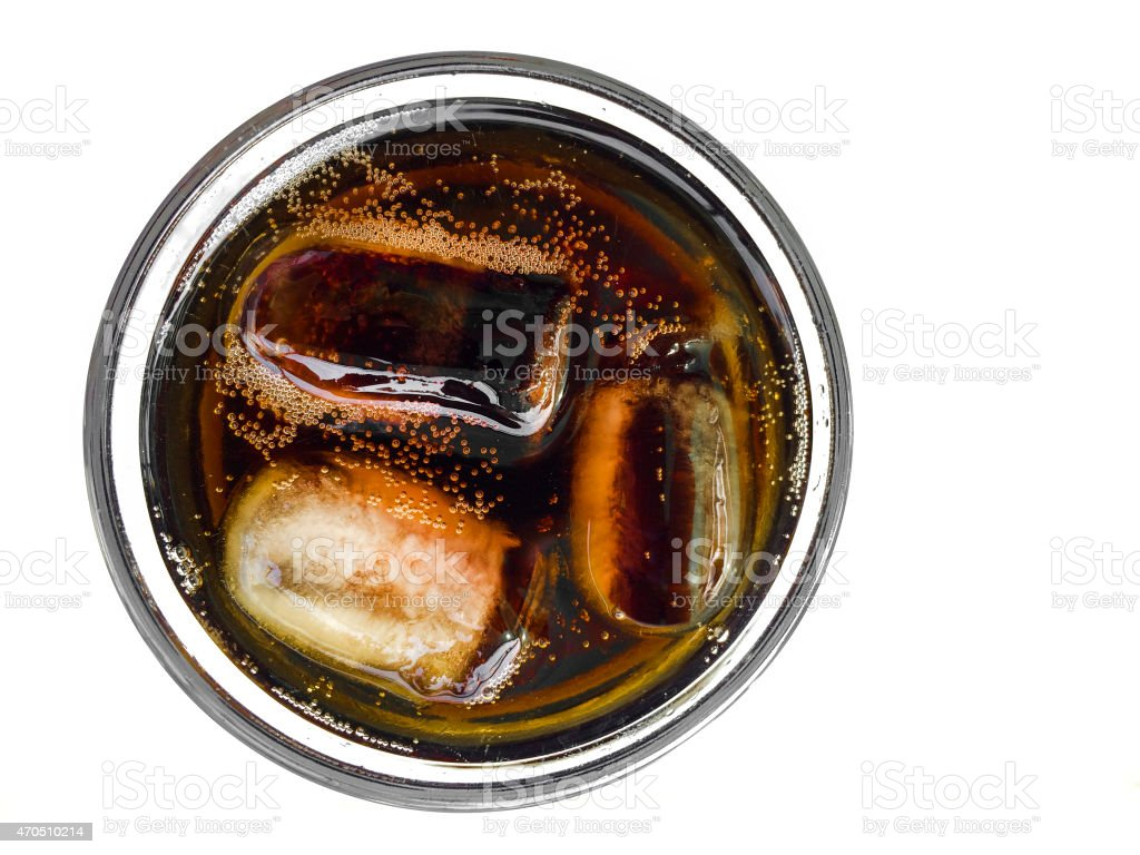 Cola with ice cubes stock photo