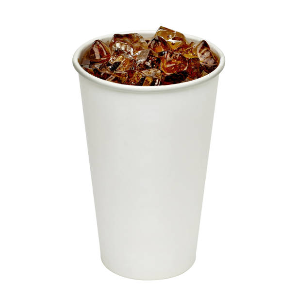 Cola with ice in blank take away cup - foto de stock