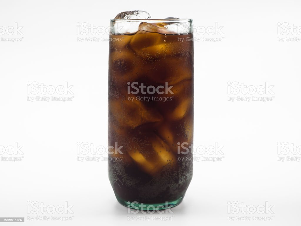 cola with ice in glass isolated on white background royalty-free stock photo