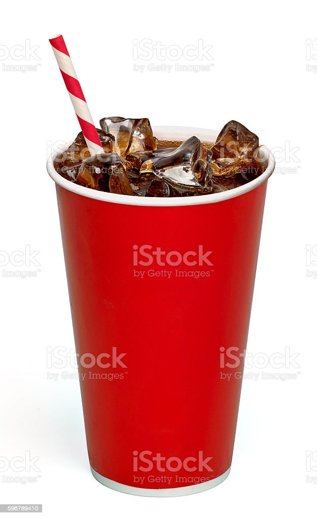 Cola with straw in take away cup on white background royalty-free stock photo