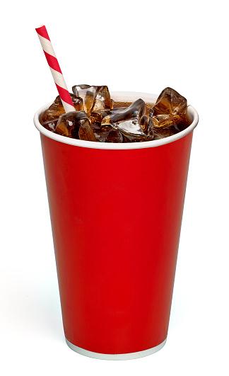 Cola With Straw In Take Away Cup On White Background - Fotografie stock e altre immagini di Bicchiere di carta