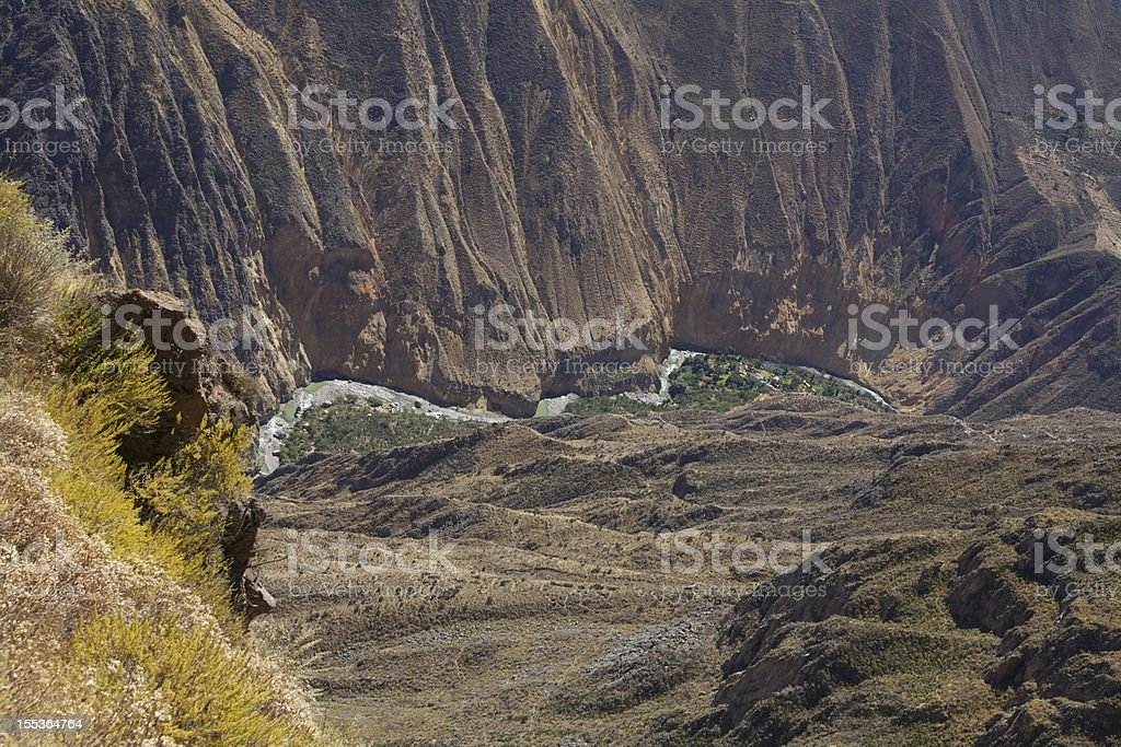 Colca canyon with river royalty-free stock photo