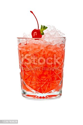 Cold alcoholic cocktail isolated on white background.