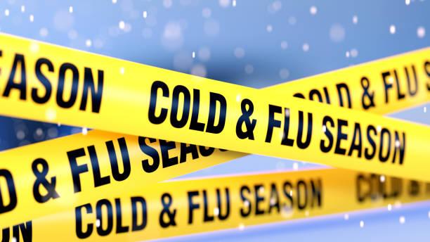 kälte- und grippe-quarantänebandbarriere über verschneitem defokussiertem hintergrund - erkältung und grippe stock-fotos und bilder
