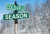 istock Cold and Flu Season Street Sign 463035645