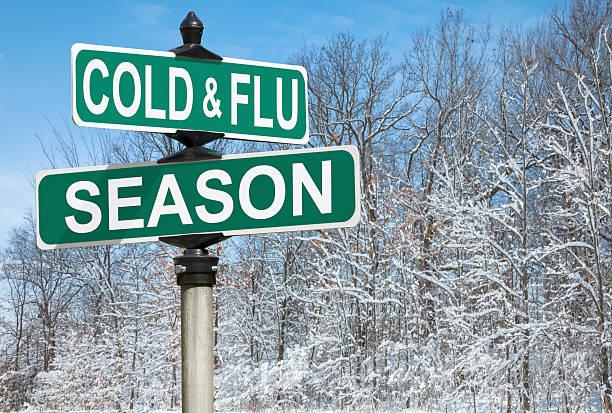 Cold and Flu Season Street Sign stock photo