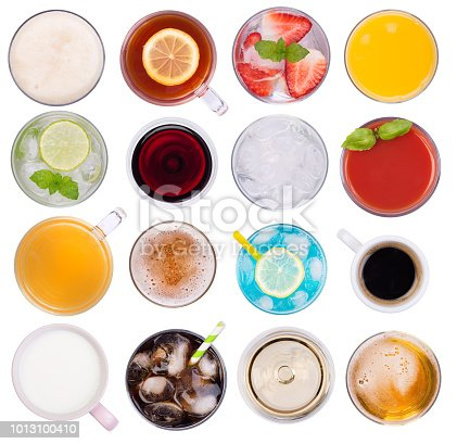 Cold and hot drinks isolated on white background, top view