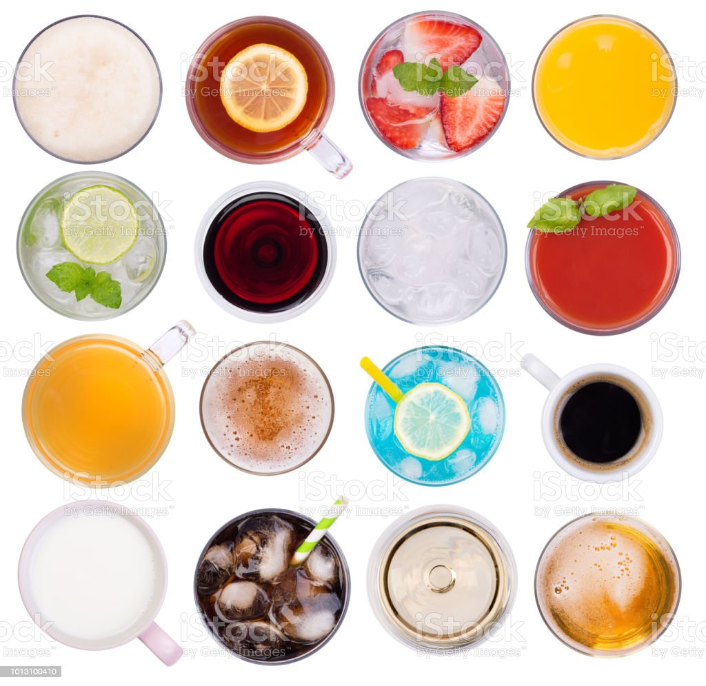 Cold and hot drinks isolated on white background stock photo