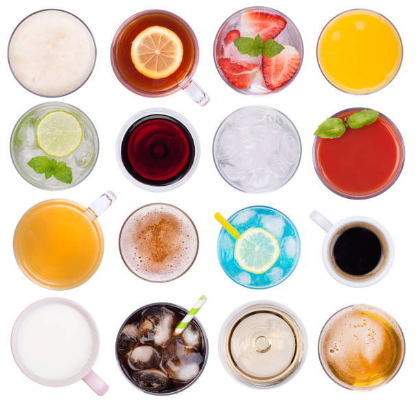 cold and hot drinks isolated on white background - high angle view stock pictures, royalty-free photos & images