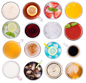 istock Cold and hot drinks isolated on white background, top view 1081067730