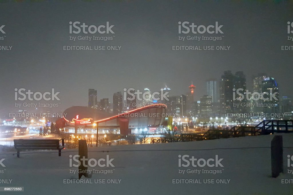 Cold And Quiet Winter Evening In The City stock photo