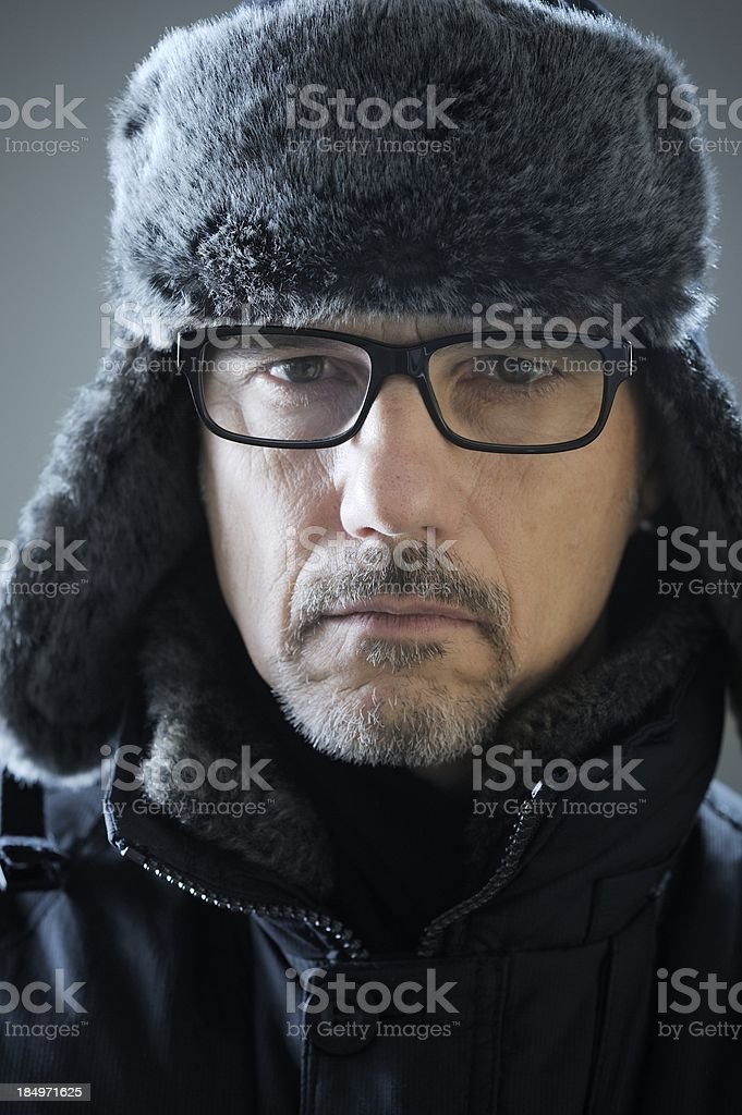 Cold and Serious Man stock photo