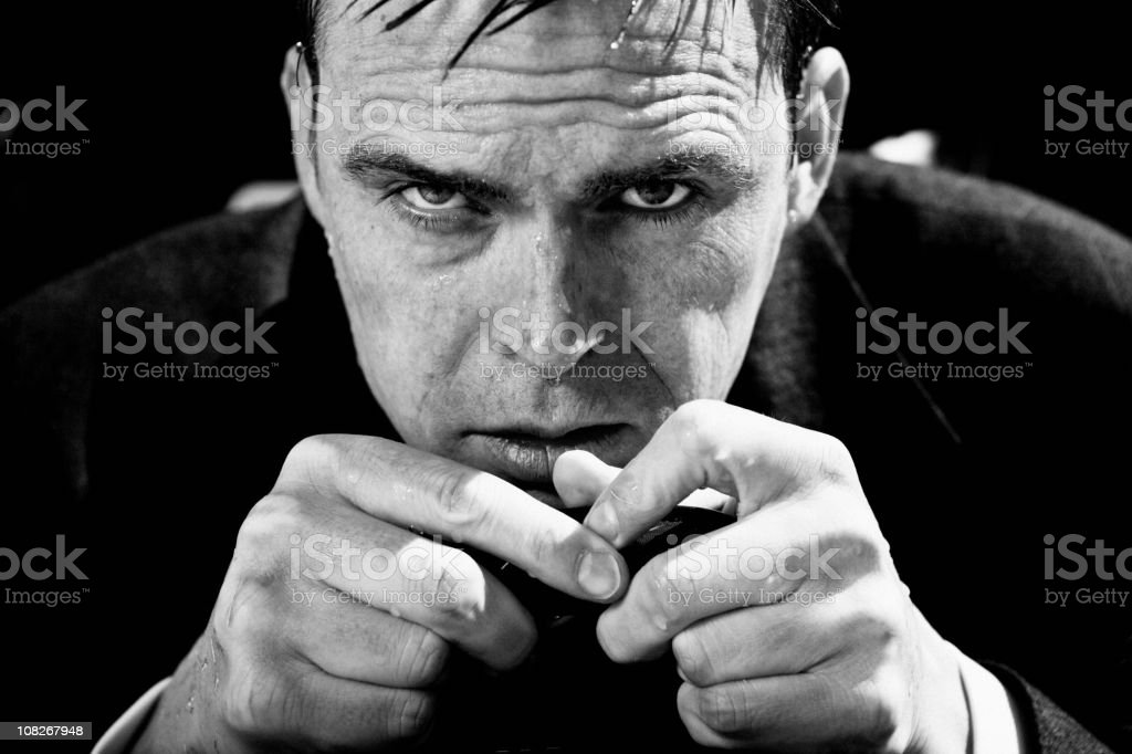 cold and wet business man stock photo