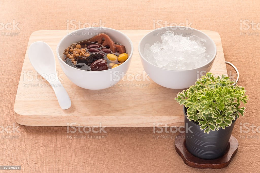 Cold assorted beans in syrup Chinese traditional. Kind of Chines stock photo