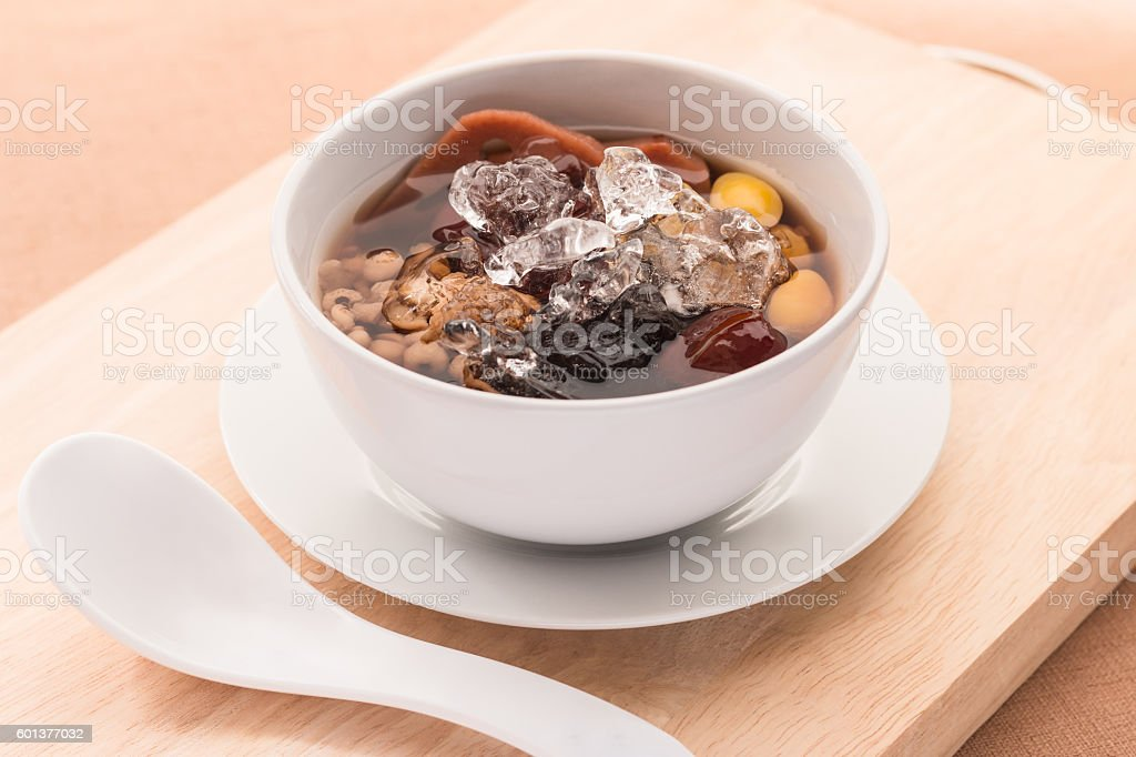 Cold assorted beans in syrup Chinese traditional. stock photo