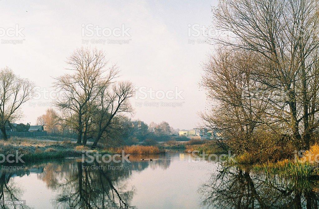 Cold autumn morning stock photo