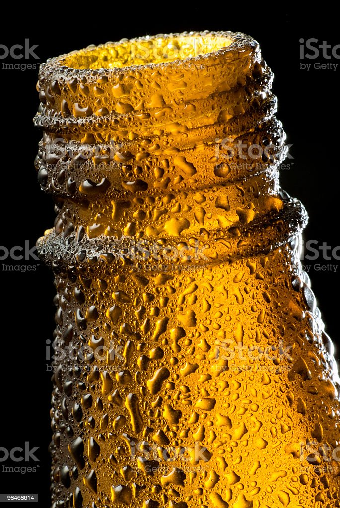 Cold Beer bottle macro royalty-free stock photo