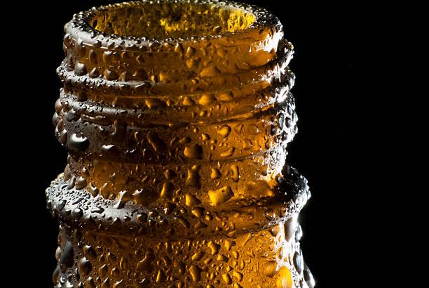 Cold Beer bottle macro stock photo