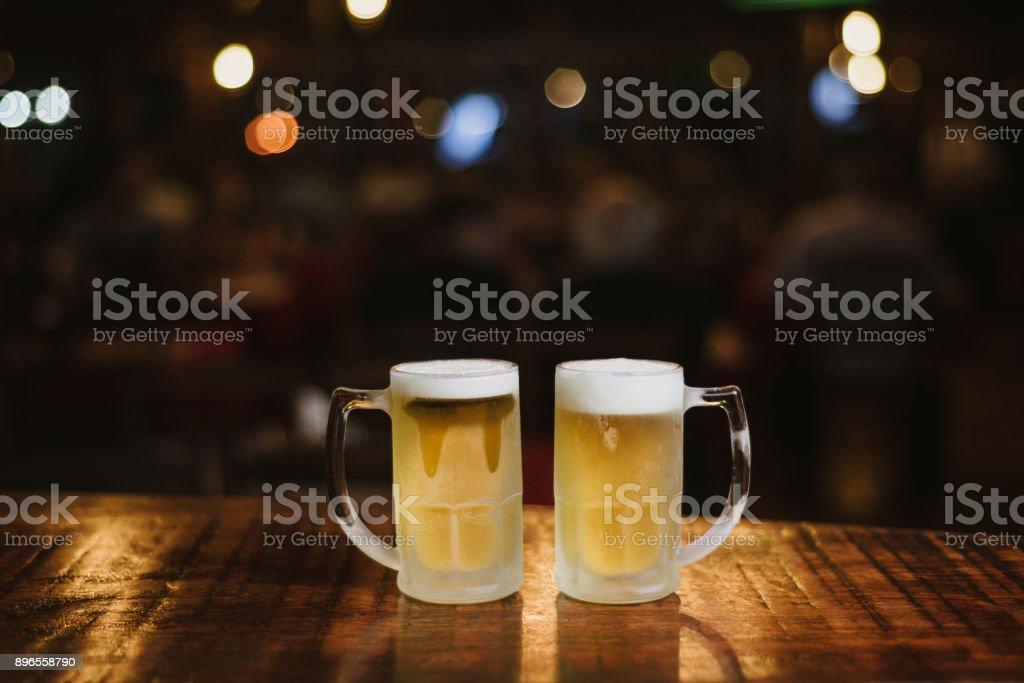 Cold beer mug stock photo