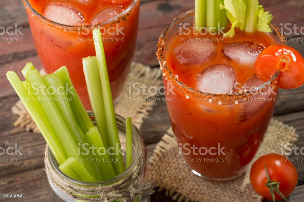 Cold Bloody Mary Cocktail stock photo