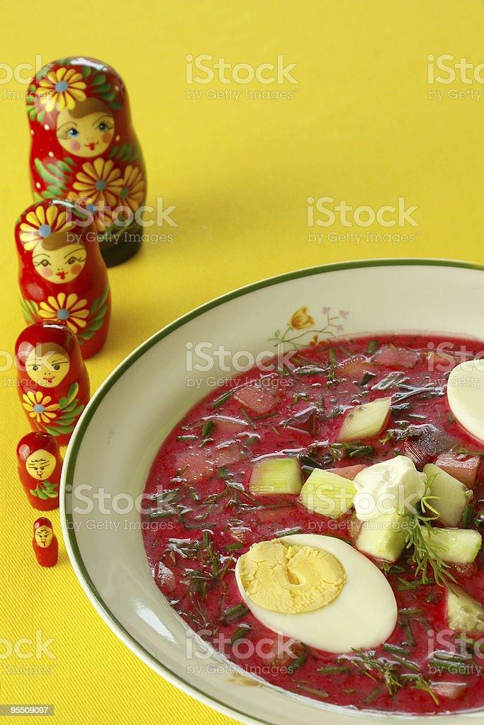 Cold borscht (beet soup) royalty-free stock photo