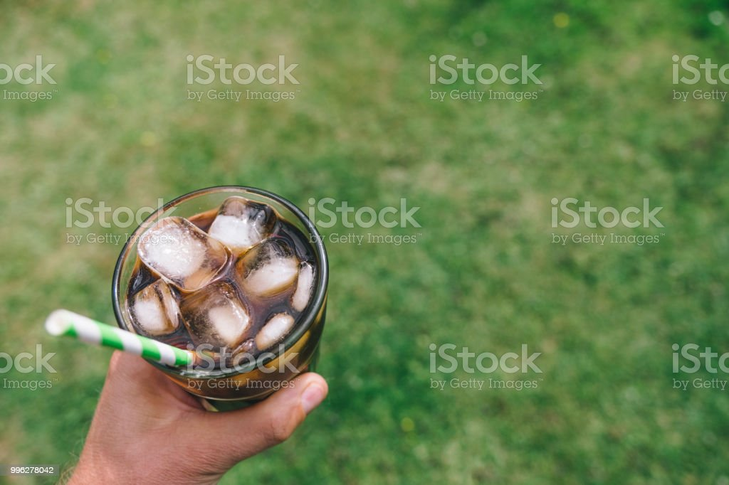 Cold Brew Coffee outside in the Garden on a sunny summers day. stock photo