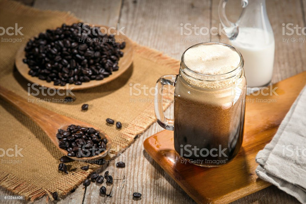 Cold brew iced coffee nitro tap poor artisan craft gourmet stock photo