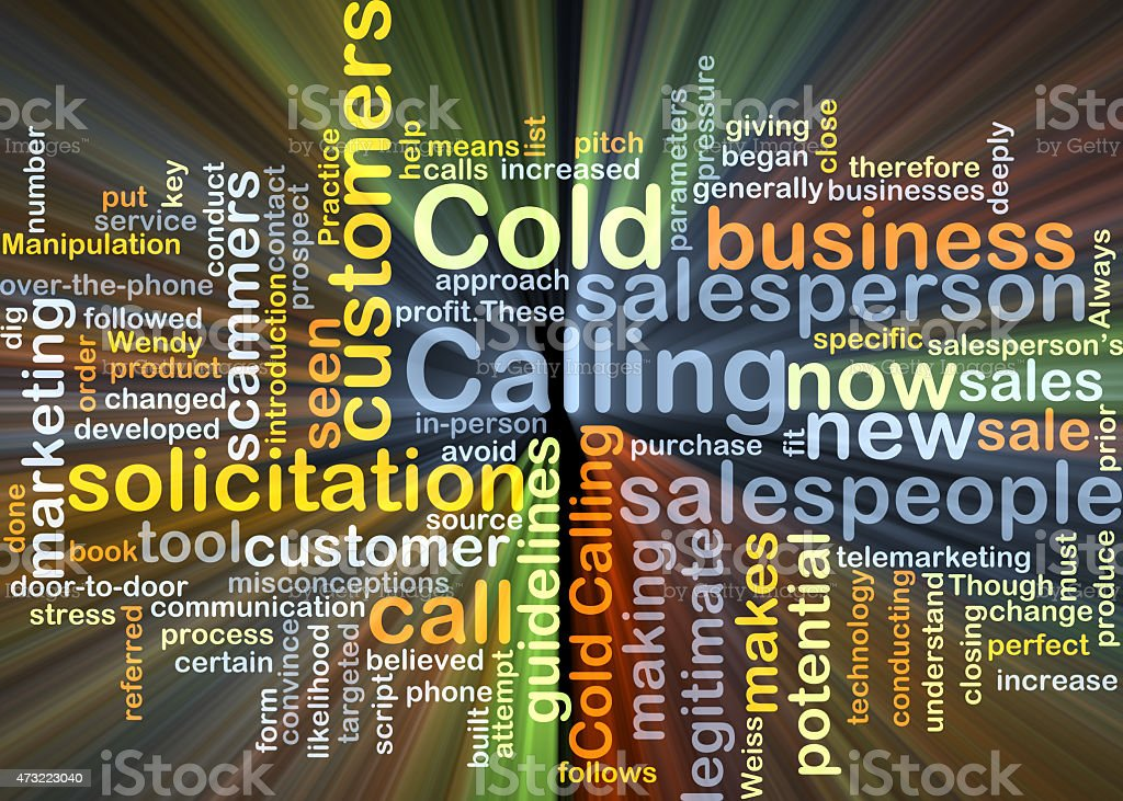 Cold calling background concept glowing stock photo