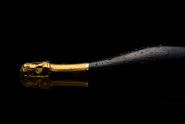 Cold Champagne bottle stock photo