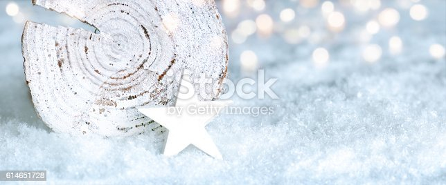 istock Cold Christmas background with snow 614651728