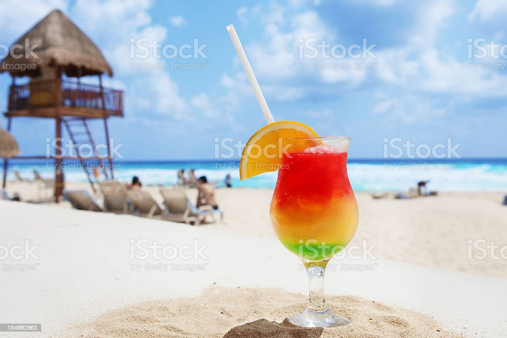 Cold Cocktail On A Tropical Beach stock photo