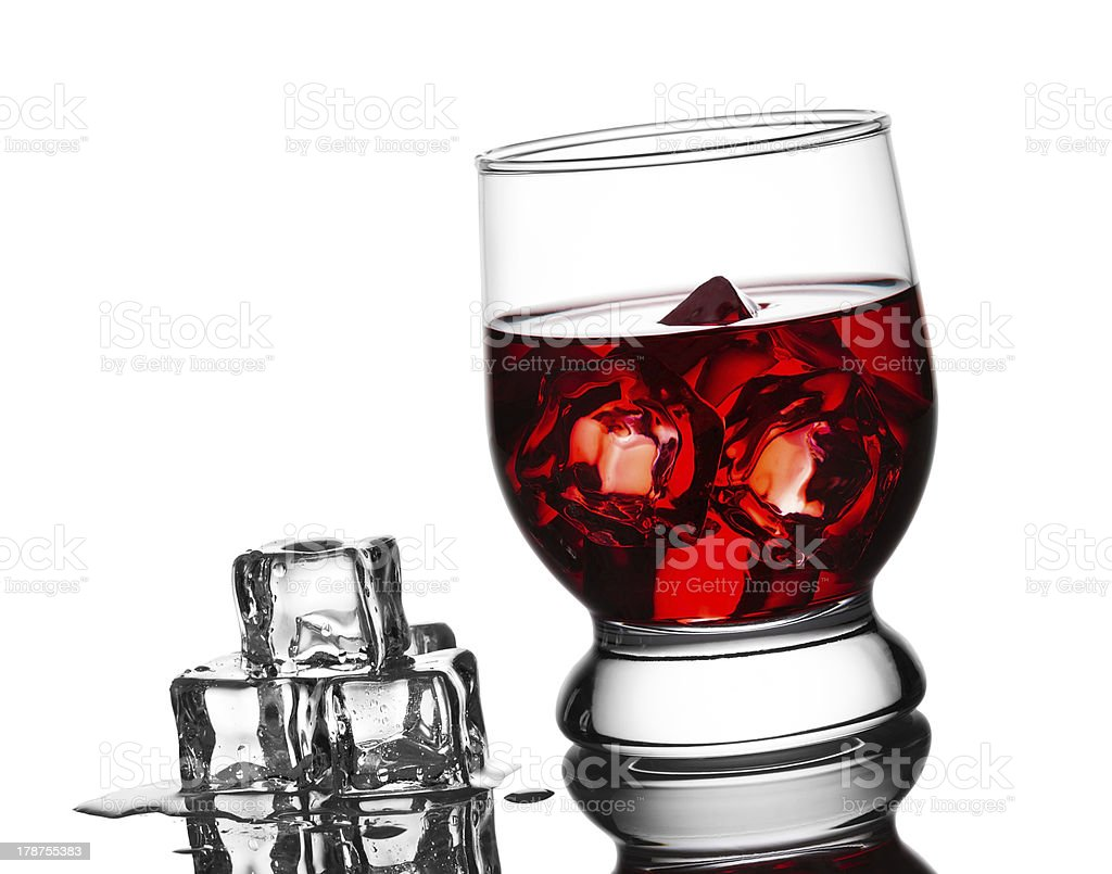 Cold cocktail with ice in a glass royalty-free stock photo