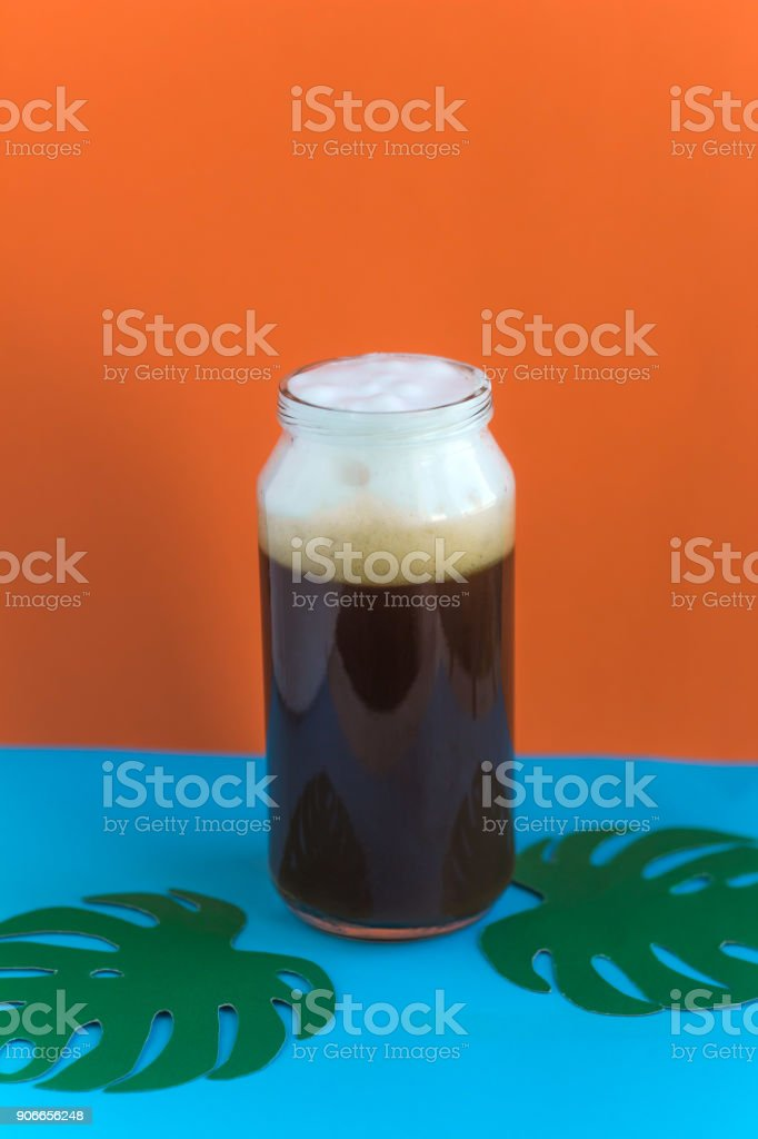 cold coffee in the bottle stock photo