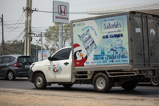 Chiangmai, Thailand - March  25 2020: Cold Container Truck for Ice Transportation. Photo at road no.121 about 8 km from downtown Chiangmai, thailand.