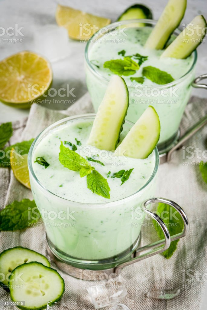 Cold cucumber and avocado soup stock photo