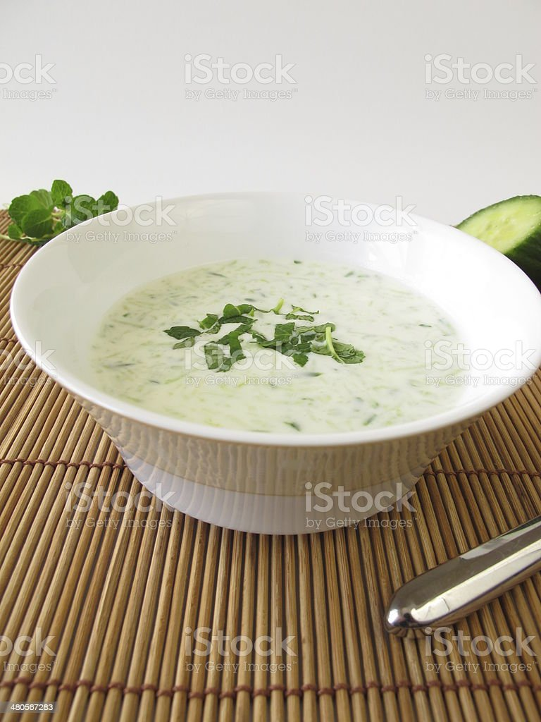 Cold cucumber soup with mint stock photo