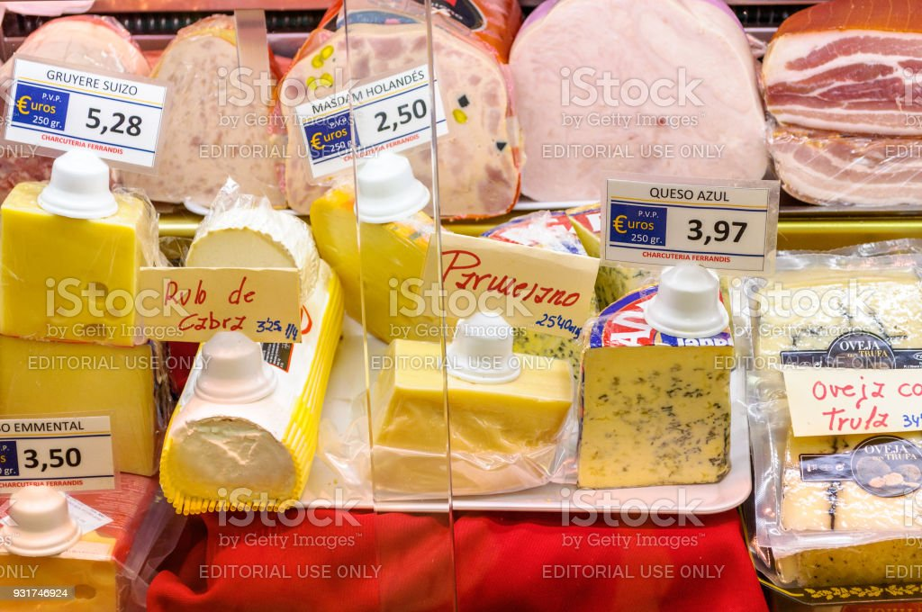 Cold cuts and cheeses in the Central Market of Valencia, Spain stock photo