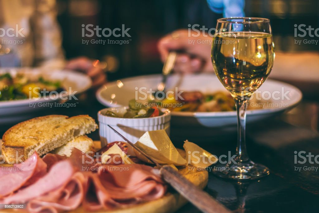 Cold cuts and wine stock photo