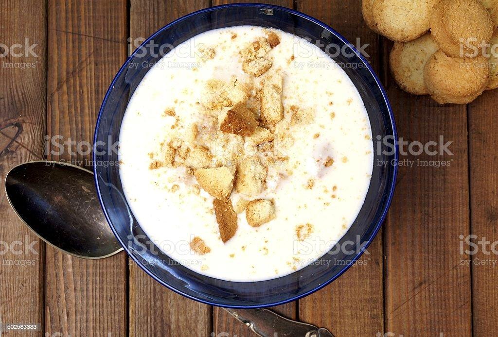 Cold danish buttermilk soup. Koldskål stock photo