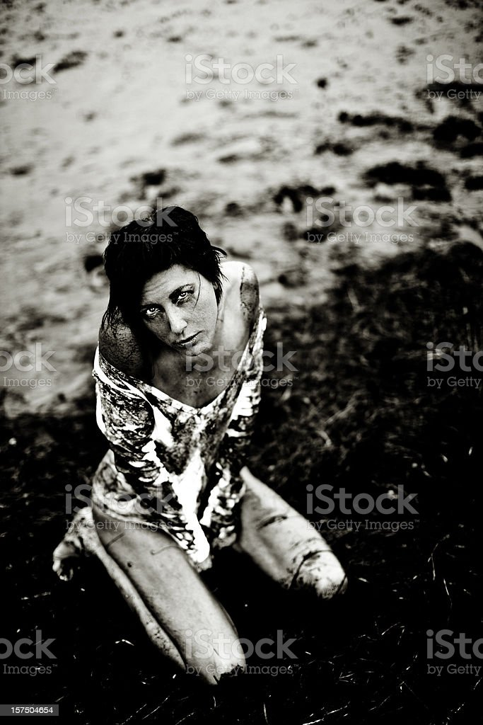 Cold dark beach stock photo