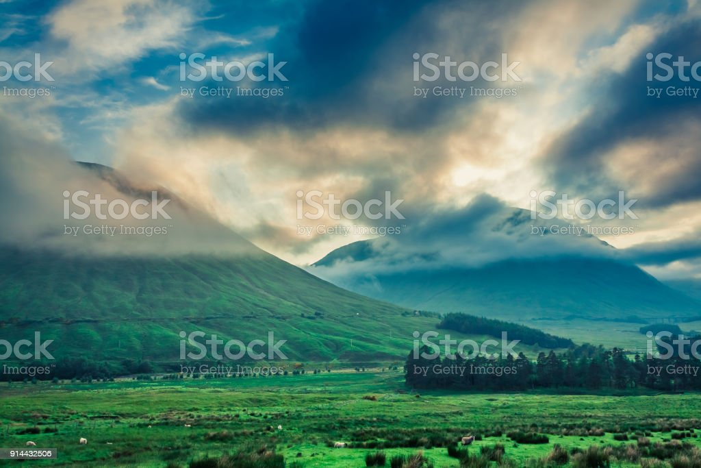 Cold dawn over the mountains of Glencoe, Scotland stock photo
