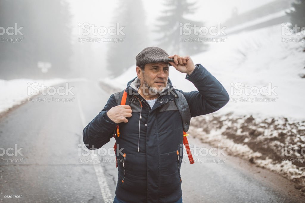 Cold day for hiking - Royalty-free Active Seniors Stock Photo