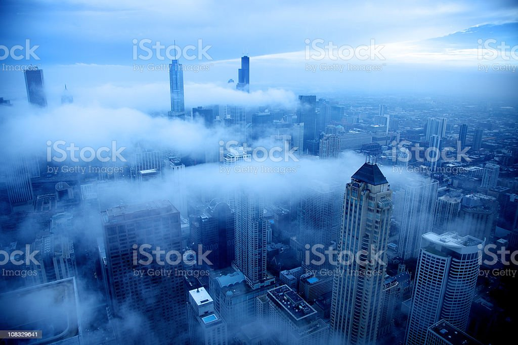 Cold day in Chicago stock photo