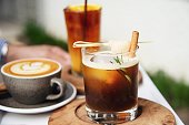 Cold drink coffee set relax background concept