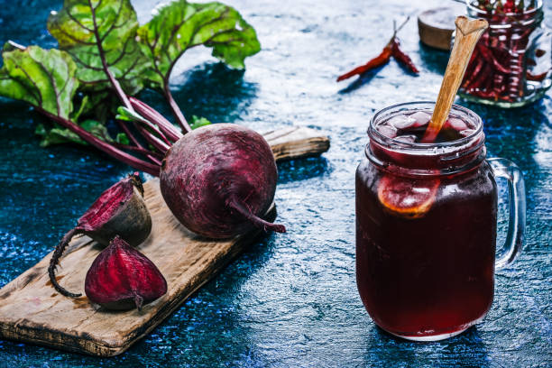 Cold drink of fresh beet stock photo