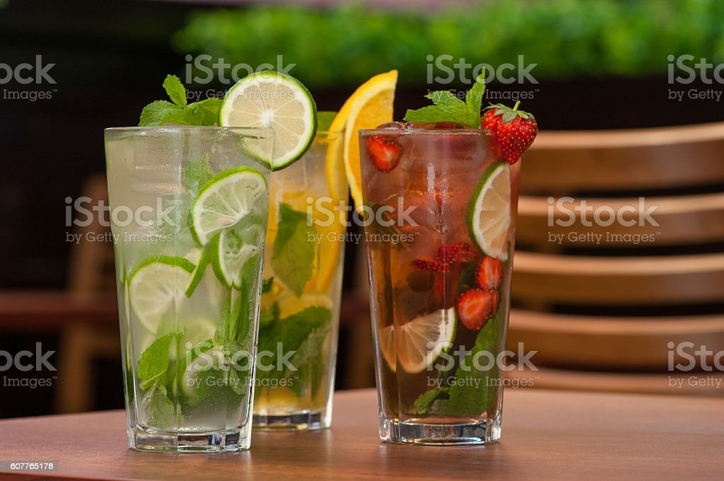 cold drink with citrus on the table stock photo