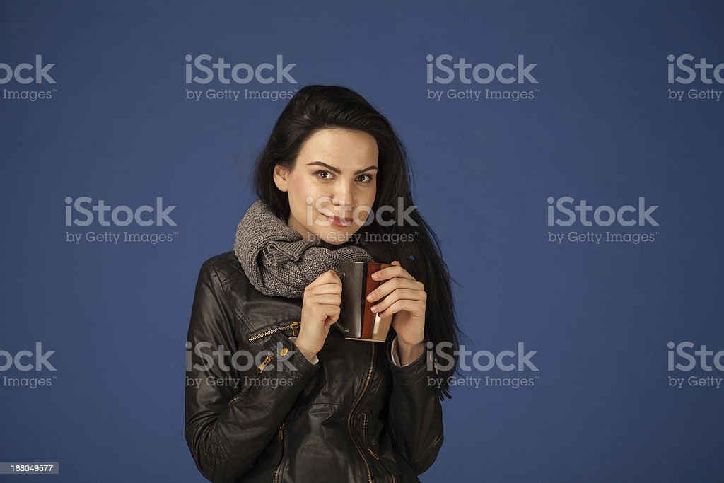 cold girl with coffee cup stock photo
