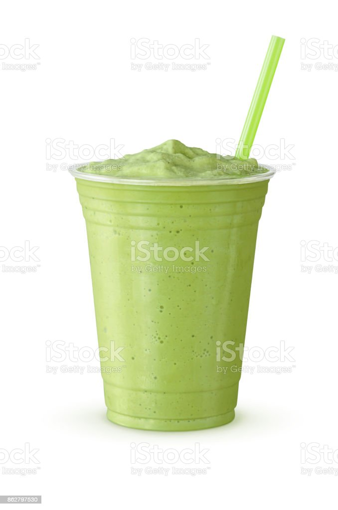 Cold Green Tea Frappe or Milkshake in Plastic Cup with Straw on White Background stock photo