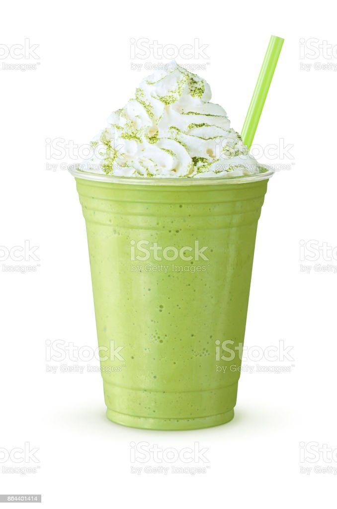 Cold Green Tea Matcha Frappe or Shake with Whipped Cream and Straw on White Background stock photo